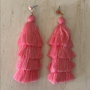 (FLAWED) Pink Tassel Earrings